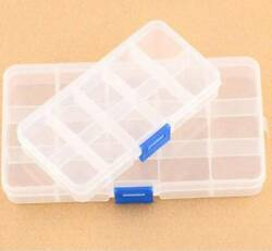 Clear Plastic 15 Slots Jewelry Beads Storage Box Case Craft Organizer Adjustable