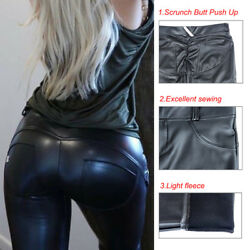 Sexy Women Leather Pants Heart Shaping Hip Push Up Stretch Leggings Yoga US M947