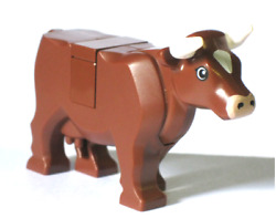 lego Brown Cow minifigure Animal W Horns new minifig pet for Farm city $34.49
