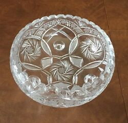 ANTIQUE CRYSTAL CUT GLASS BOWL 5quot; TALL 9quot; WIDE 3 FOOTED BASE $34.99