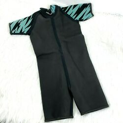 Henderson Wetsuit Shorty size L Child Youth Density 2 Black Teal Short Sleeve