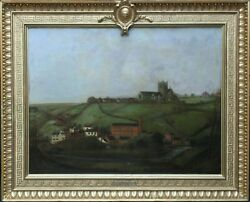ISAAC FINDLER BRITISH 19THC ART INDUSTRIAL LANDSCAPE OIL PAINTING CHEDDLETON