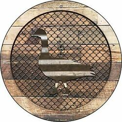 Duck Fence Fencing 12quot; Round Aluminum Metal Sign Rustic Home Farm Wall Decor $14.98