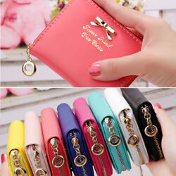 Cute Women Small Leather Bow Wallet Zip Card Coin Purse Ladies Clutch Handbag US