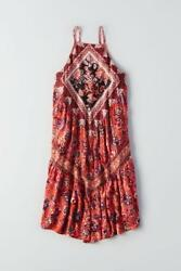 (NWOT AMERICAN EAGLE OUTFITTERS PRINTED SPLIT-SLEEVE SHIFT DRESS sz L)