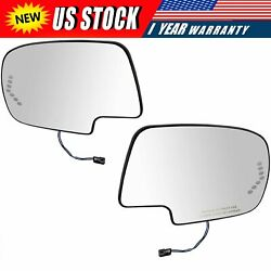 Mirror Glass Power Heated Left & Right Pair Set for Chevy Silverado GMC Cadillac