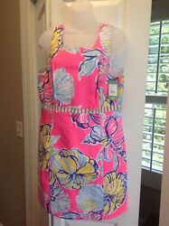 Lilly Pulitzer Iggy Kir Royal Pink Swept By The Tides Cut Out Shift Dress 14
