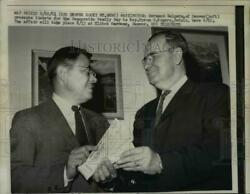 1961 Press Photo Bernard Halpers Giving Byron G. Rogers Tickets to Family Day