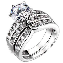 1.25 Ct Round Cubic Zirconia Sterling Silver Engagement Bridal Wedding Ring Set
