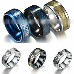 Punk Men Women Dragon Design Rings Jewelry Stainless Steel Band Size 5-13 New