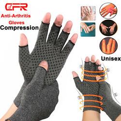Arthritis Gloves Fingerless Medical Support Carpal Tunnel Copper Compression Fit $8.39