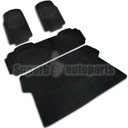 2 Front1 Rear1 Cargo Weather Custom Heavy Duty Rubber Floor Mats 4PC Black $42.98