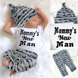 3PC Newborn Baby Boy Romper Jumpsuit Tops + Long Pants + Hat Outfits Clothes Set