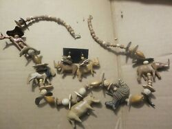 1980's Treska Wooden Hand Carved Necklace w5 Animals & Beads + Ear Rings Rhino