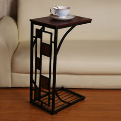 C-shaped Side Sofa Snack Table Coffee Tray End Table Living Room Furniture NEW $22.49