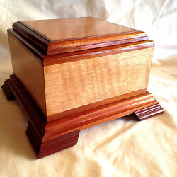 Medium Exotic Wood Pet Cremation Urn 60 Lb Quilted Anigre and Mahogany Small Top