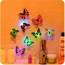20pc Colorful Changing Butterfly LED Night Light Lamp Home Room Party Wall Decor $13.01