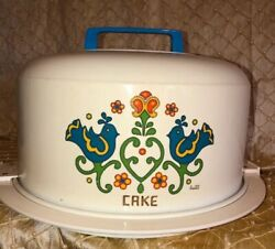 Vintage  Antique KROMEX 1975 Tin Cake Plate With Cover