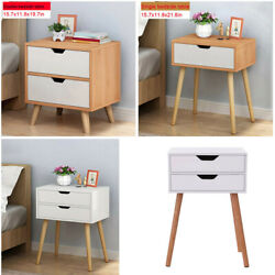 Sofa Bed Side End Table Accent Nightstand Living Room w Drawer and Wooden Legs