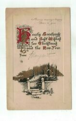 1910 embossed Christmas Post Card Gold Foil Art Deco Brick Wall Trees $1.99