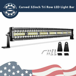 Tri Row 32quot; inch 600W Curved LED Light Bar Spot Flood Combo BOAT Bus Marine $38.53