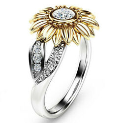 Solid Sterling Silver Crystal Sunflower Ladies Statement Band Ring Women Gift US