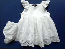 Girls Baby Gap White Eyelet  Party Dress 3 6 mos Beach Portrait Church