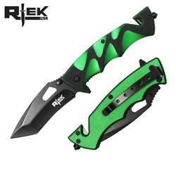 Spring Assist Folding Knife Black Tanto 3.5quot; Blade Rescue Tactical EDC Green $8.39