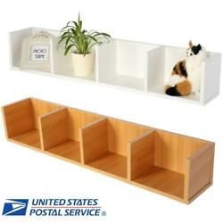 Wooden Modern Wall Mount Display Shelf CDDVD Organizer Storage Rack Home Decor