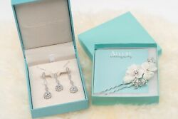 Wedding Jewelry Set - Necklace Earring and Hair Pin - Worn Once