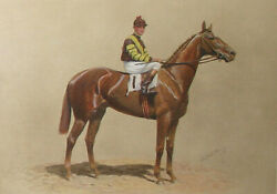 GEORGE FORD MORRIS HAND COLORED PRINT - MAN O' WAR - SIGNED BY SAMUEL D. RIDDLE