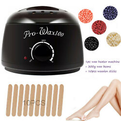 Hair Removal Hot Wax Heater Warmer Waxing Kit + 300g Hard Wax beans