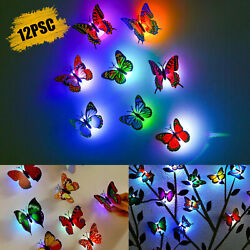 12Pcs 3D Butterfly LED Wall Stickers Glowing Bedroom DIY Home Decor Night light $9.98