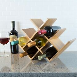 Wooden Bamboo 8 Bottle Wine Rack Counter Table Top Free Standing Elegant