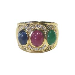 18K Gold Cabochon Ruby Sapphire Emerald Diamond Ring