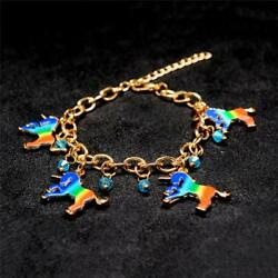 Women's Multicolor Horse Unicorn Charm Beads Link Chain Bracelet Jewelry Q