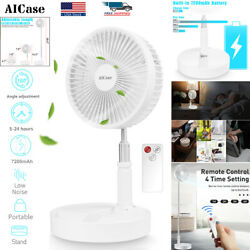 7quot; Adjustable Pedestal Fan Stand Floor USB Rechargeable 4 Speed Air Cooling Fan $42.99