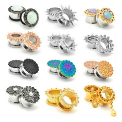 Pair of Fancy 316L Stainless Steel Plugs gauges flower dangle tunnels $7.59