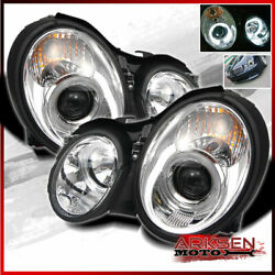 Fits 98-02 Benz Clk-Class W208 Dual Halo Rims Projector Headlights Front Lamps