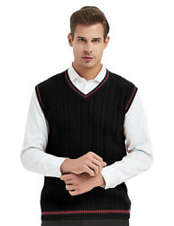 TopTie Mens Sweater Vest V Neck Sleeveless Pullover Basic Cable Knit Work Casual