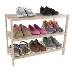 Wooden Shoe Rack Storage Shelf 3 Shelves Hallway Entryway Holds 9 Pairs