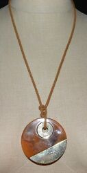 VTG Modern Abstract Orange Brown Swirl Lucite Gold Tone Pendant Necklace