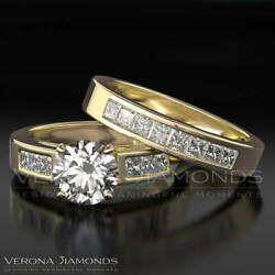 F SI1 Diamond Engagement Ring Wedding Band Set 2.00 Carat Round Cut