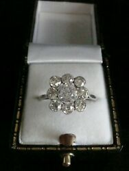 EDWARDIAN 18CT WHITE GOLD OLD CUT DIAMOND 1.90 TCW CLUSTER