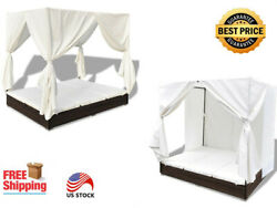 Outdoor Garden Rattan Brown Lounge Bed with Curtains for 2 People 77.6