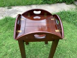 BOMBAY COMPANY MAHOGANY BUTLERS TEA TRAY LAMP END TABLE FOLD UP DROP LEAF Vtg