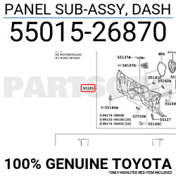5501526870 Genuine Toyota PANEL SUB-ASSY DASH 55015-26870