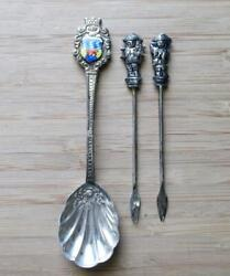 Lot of 3~1 Sterling Silver Miniature Shell Spoon~2 Hors d'oeuvre Forks~1-B1109