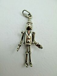 FULLY ARTICULATED PINOCCHIO Pendant Vintage Sterling Silver 056TB $35.77