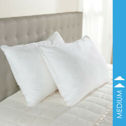 2 100% Cotton Hotel Style Down-Like Pillows Downlite EnviroLoft Medium Density